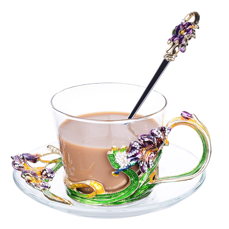 230ML Creative Household Enamel Glass Coffee Cup Mug Set With Spoon Saucer