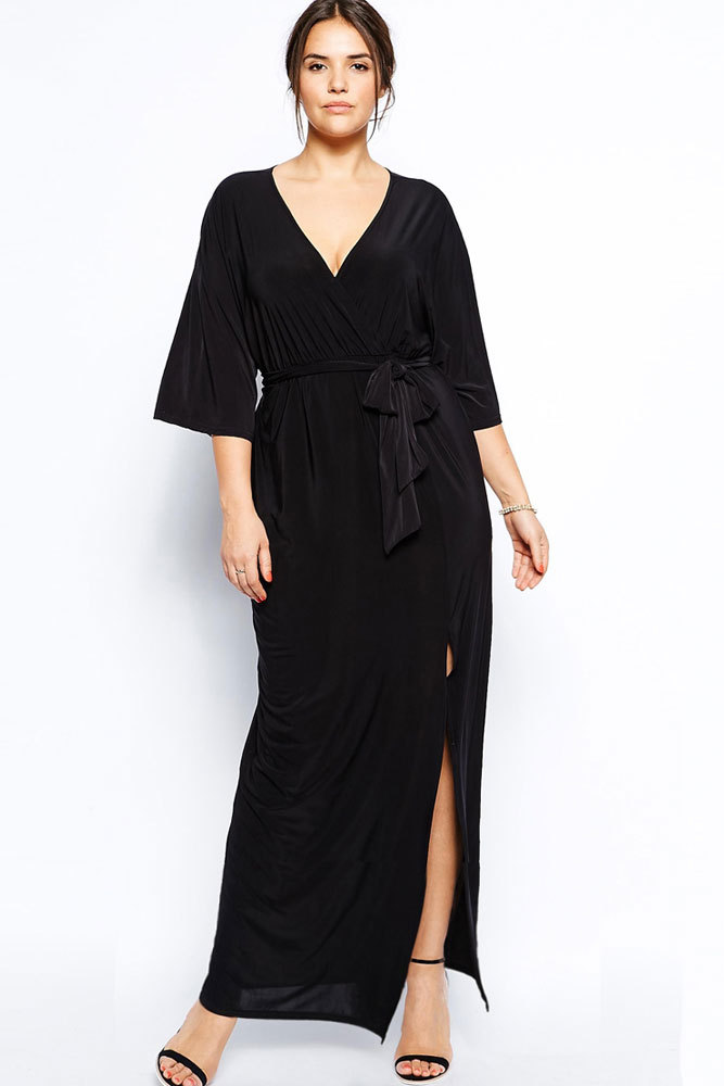 Summer Black Maxi Dress with Slit