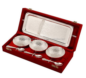 Indian Wedding Gifts For Guests Engraved Silver Plated Br Handicraft Bowl Set