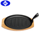 hot sale cast iron steak pan sizzler plate with wooden base