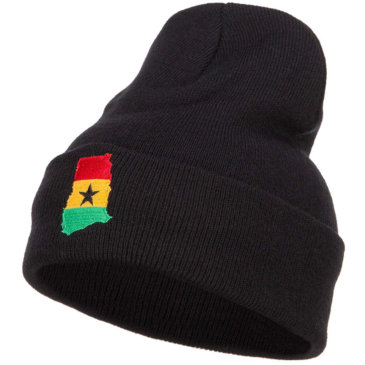 5edc59fa34904 Get Quotations · Ghana Flag Map Embroidered Long Beanie