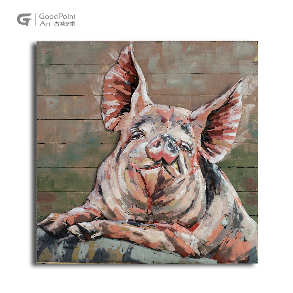 Promotional New 3D Rustic Metal Art Lovely Pig Wall Decoration Picture <strong>Craft</strong>