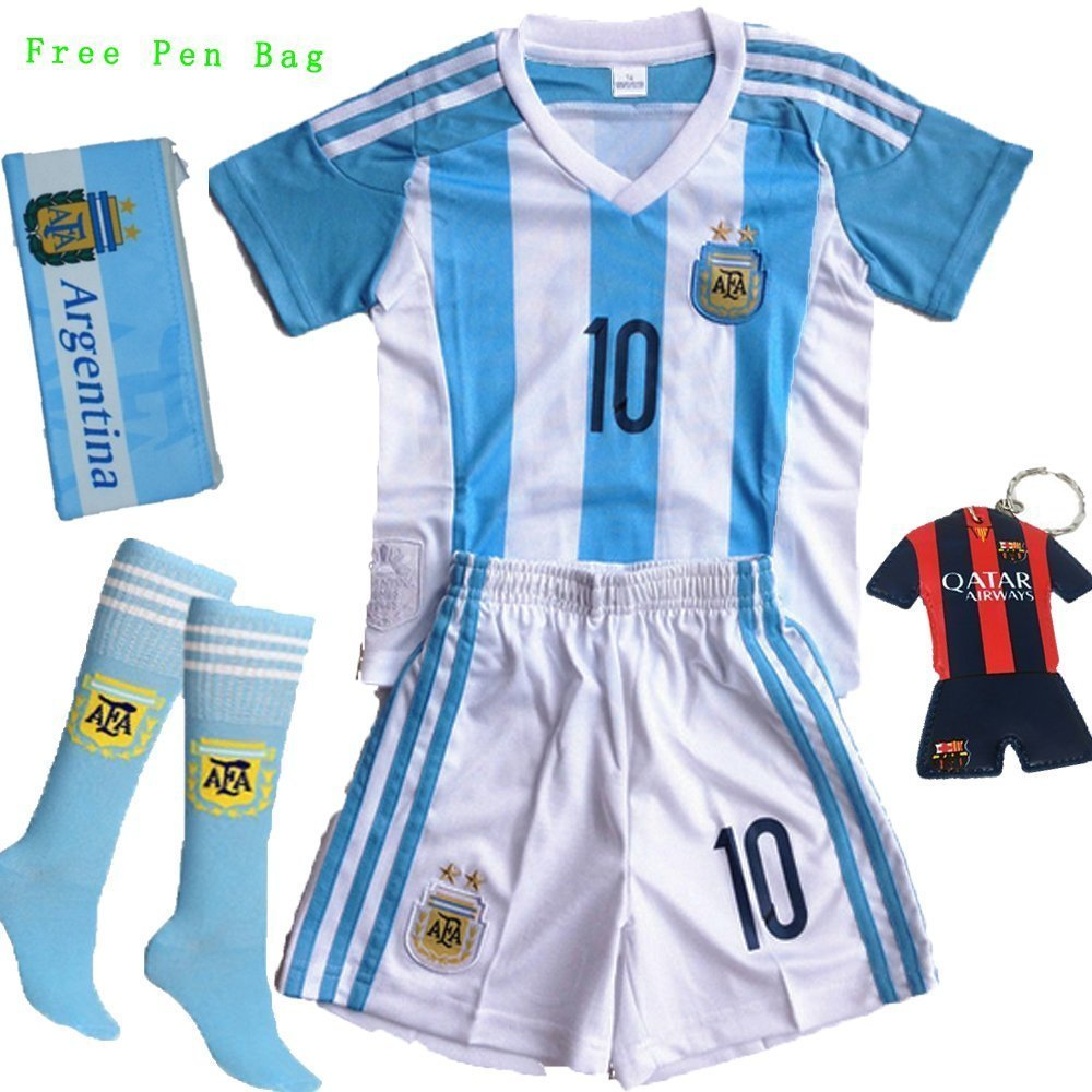 bd45ca97e GamesDur 2016 2017 Argentina LIONEL MESSI  10 Home Soccer Kids Jersey    Short Set