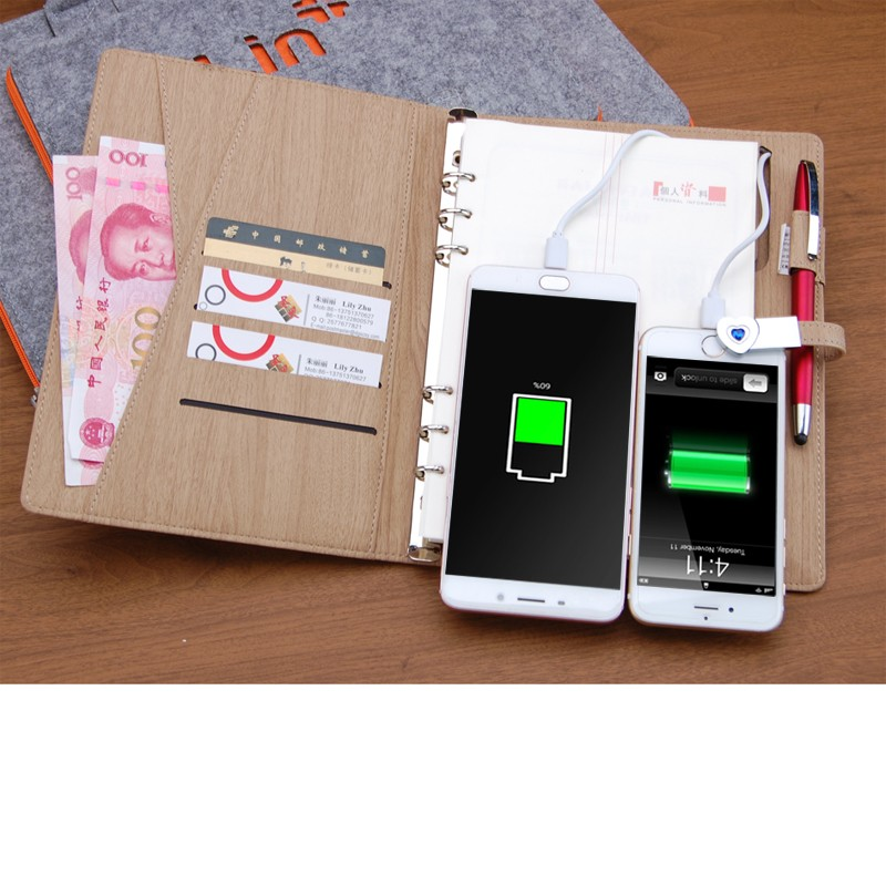 2018 Power Bank dengan Dompet Notebook Mengambil USB Flash Drive