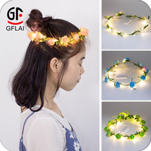 Light Up Colorful Rainbow LED Flor Headbands Preço Barato Coroas