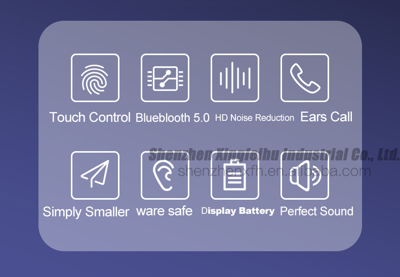 Smart Touch Control 5.0  TWS Wireless Headphone For Apple IOS Android Uiversalll Handfree Earphone