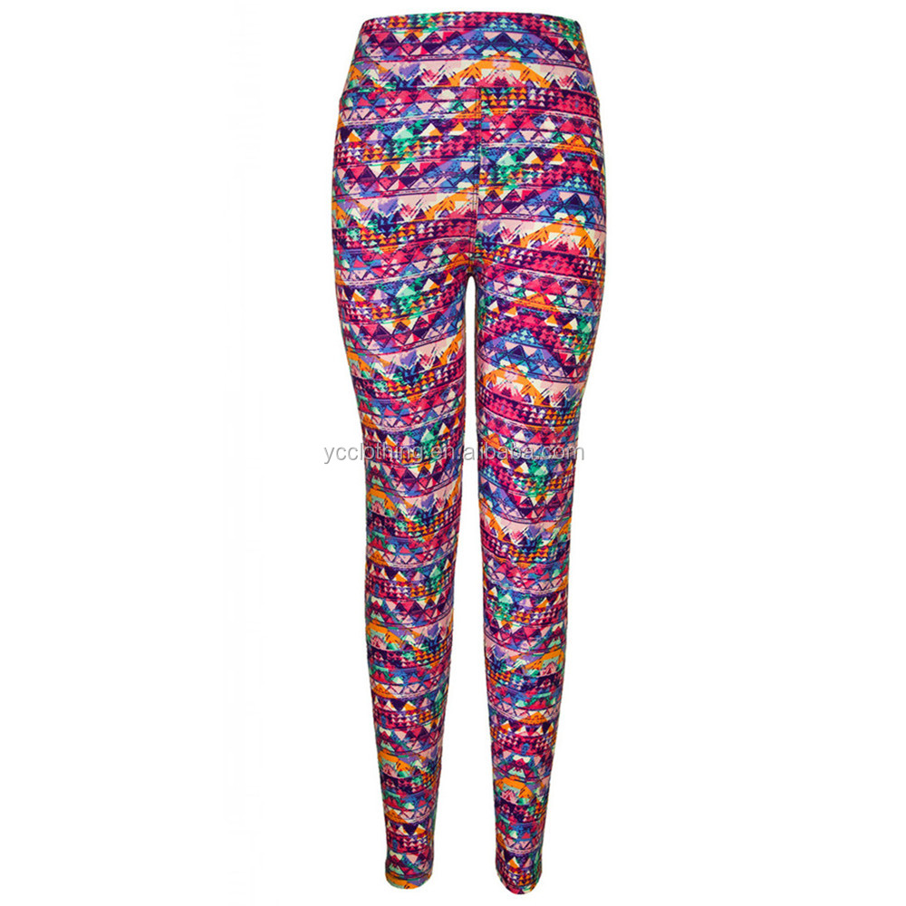 colorful printing oem label brand high waist brush polyester leggings for women