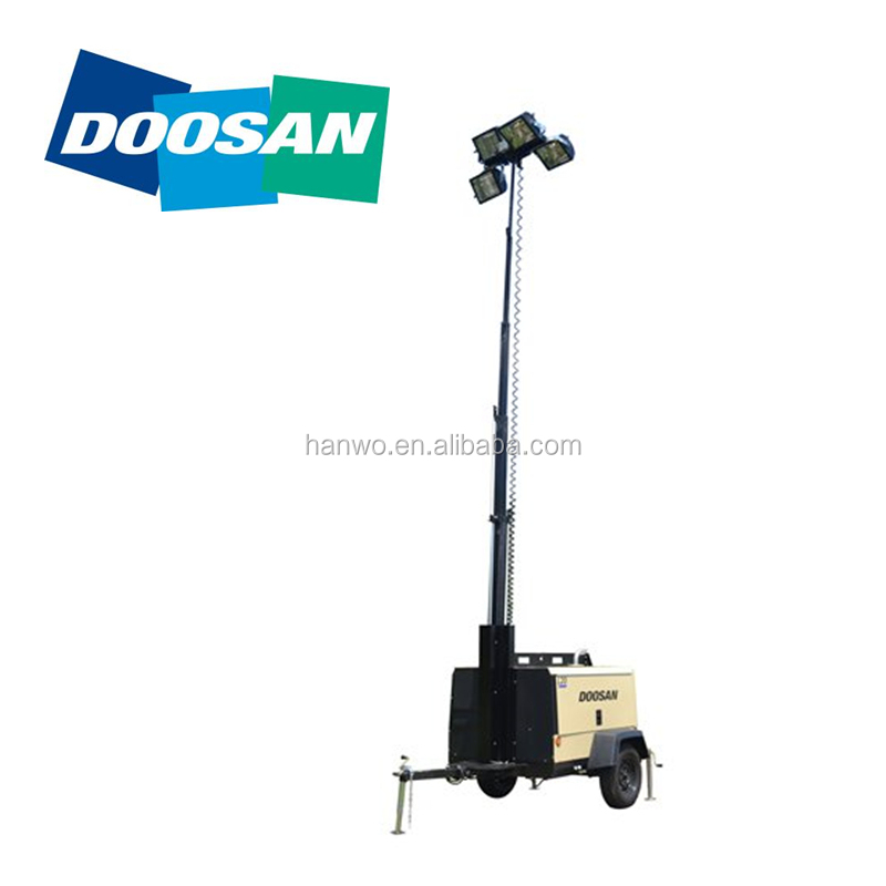 Doosan light tower L20LEDFEX kubota diesel engine 50000hs illumination LED light for road bridge construction disease relief