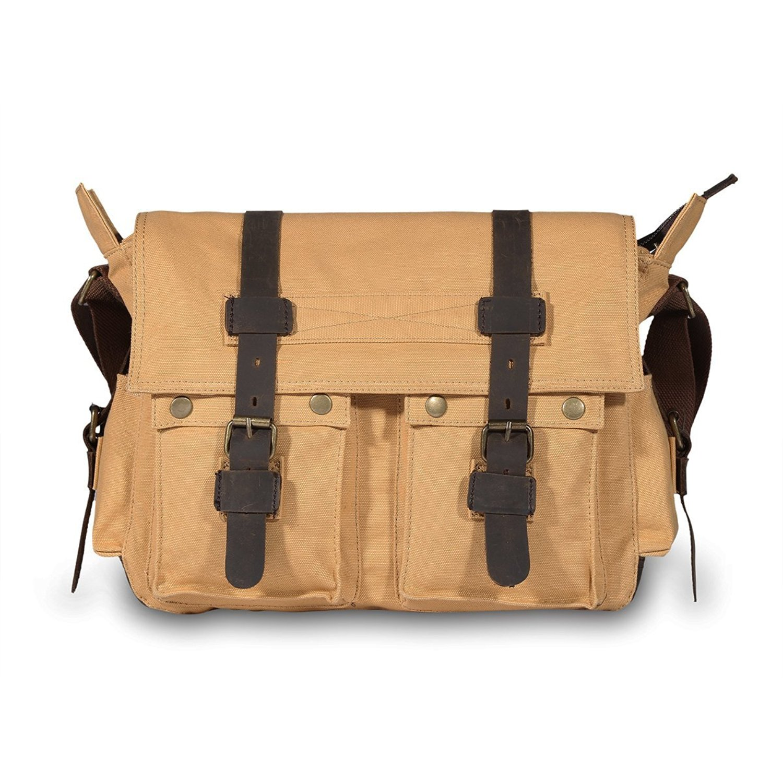Get Quotations · Peacechaos Messenger Bag Leather Canvas Shoulder Bookbag  Laptop Bag + Dslr Slr Camera Canvas Shoulder Bag 6713de963d