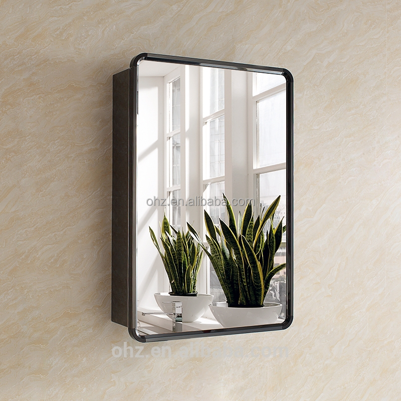 Large Bathroom Mirror With Storage: New Arrival Modern Stainless Steel Black Bathroom Mirror