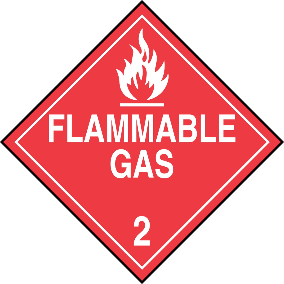 Pack of 25 White on Red Accuform MPL202VS25 Adhesive Vinyl Hazard Class 2 DOT Placard 10-3//4 Width x 10-3//4 Length LegendFlammable Gas 2 with Graphic