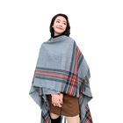 2019 Fashion Scarf Shawl Women'S Colorful Stripe Design Outdoor Shawls Wholesale Winter Acrylic Poncho With Hat