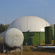 biogas reactor tank equipped with double membrane roof to collect biogas