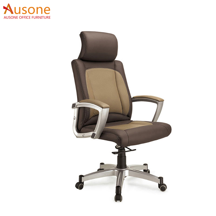 Aluminum alloy foot Ergonomic stable leather office chair