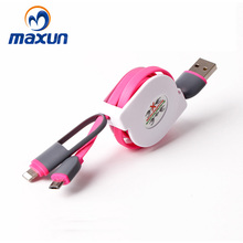 100% Original quality Telescopic data line USB cable 2 in 1 data line charging line for android/ apple molible phone