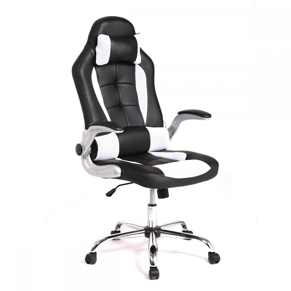 Ergonomic Chair Black Gaming And White Leather Office Desk Chair
