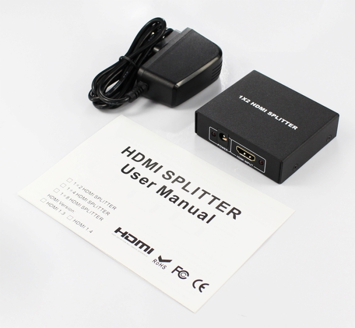 3D Super Mini 1x2 Splitter HDMI Full HD 1080 p v1.3 1 ingresso 2 uscita HDMI Splitter