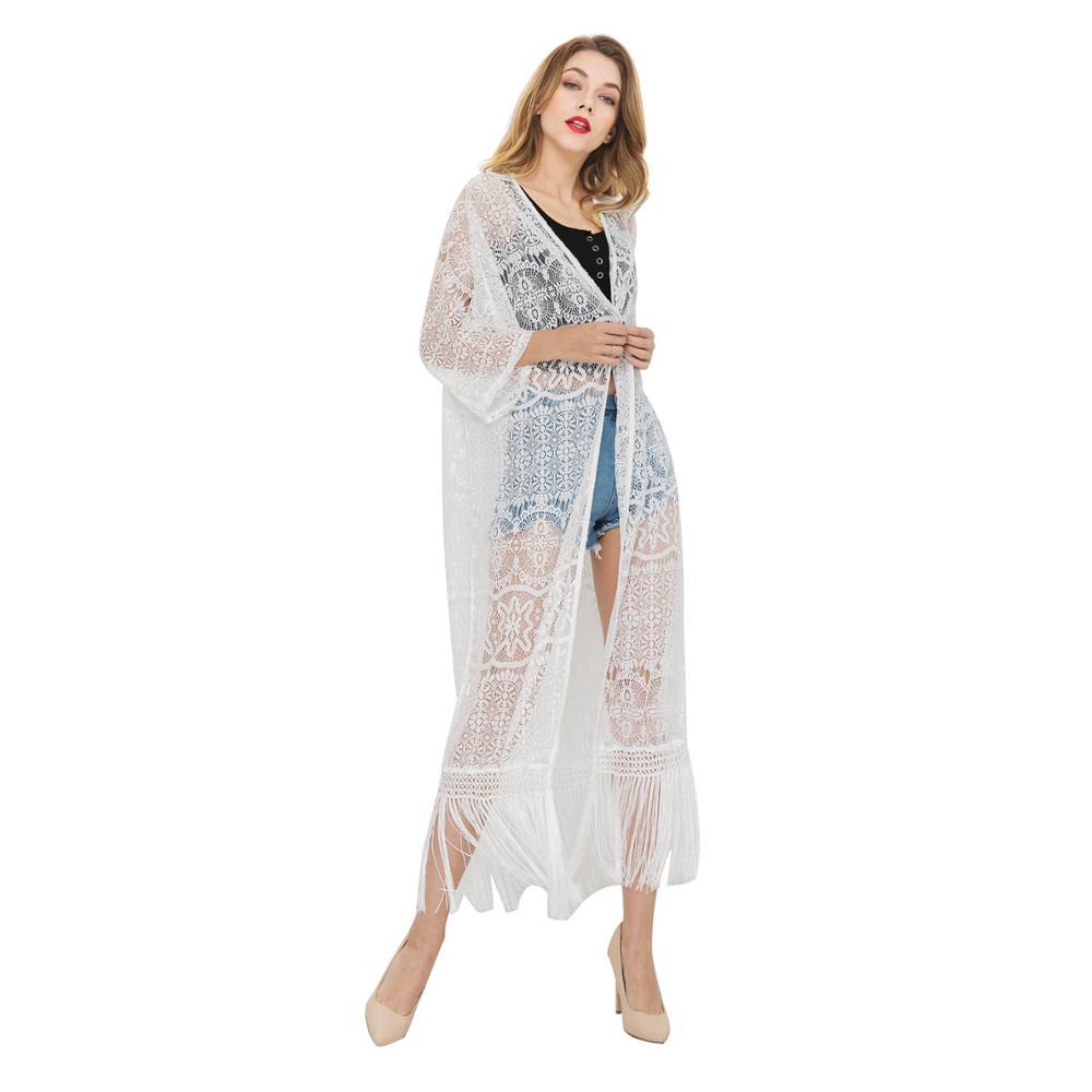 1c339eeff7d 2019 новый стиль белый Женская с длинным рукавом пляжная туника крючком  Cover-up Блузка обёрточная