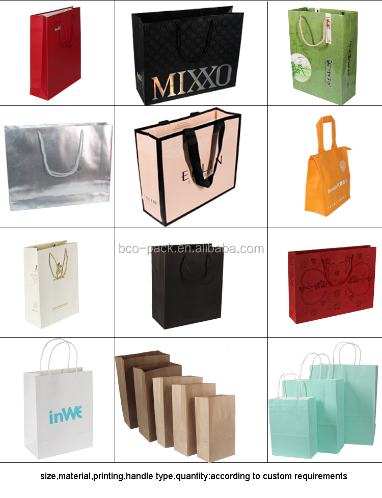 Offset printing white kraft paper bags with handles  paper packaging bag