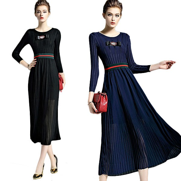 bb4f8992310 Ladies Tight Fitting Knitted Long Sleeves Black Spring Maxi Dresses ...