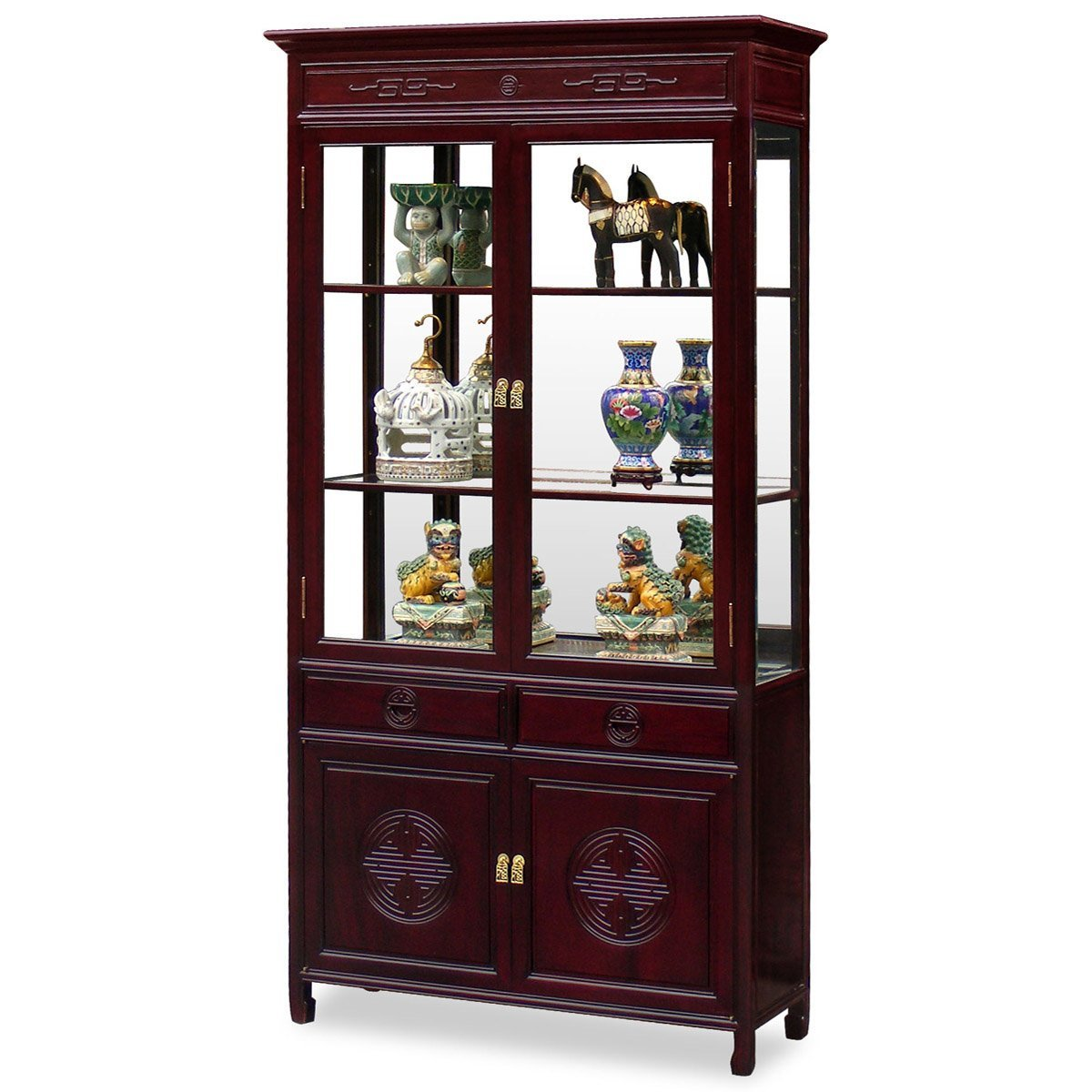Superieur Get Quotations · China Furniture Online Rosewood China Cabinet, Longevity  Motif Display Cabinet Dark Cherry Finish