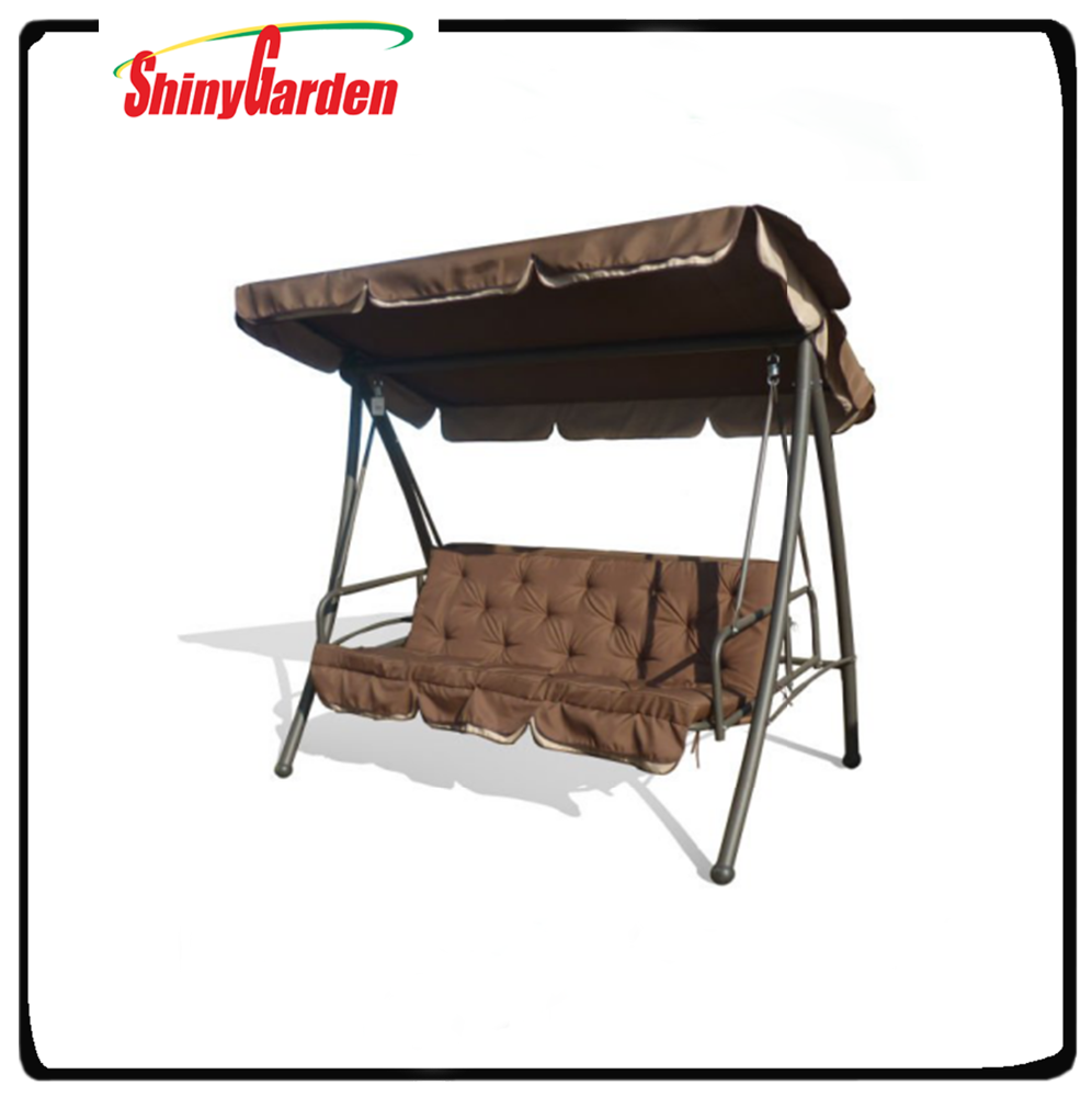 Shinygarden outdoor garden canopy swing bed, swing bed with canopy cushion, reclining outdoor swing chair