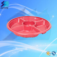 Disposable Plastic Round Large 5 Compartment Food Box Tray