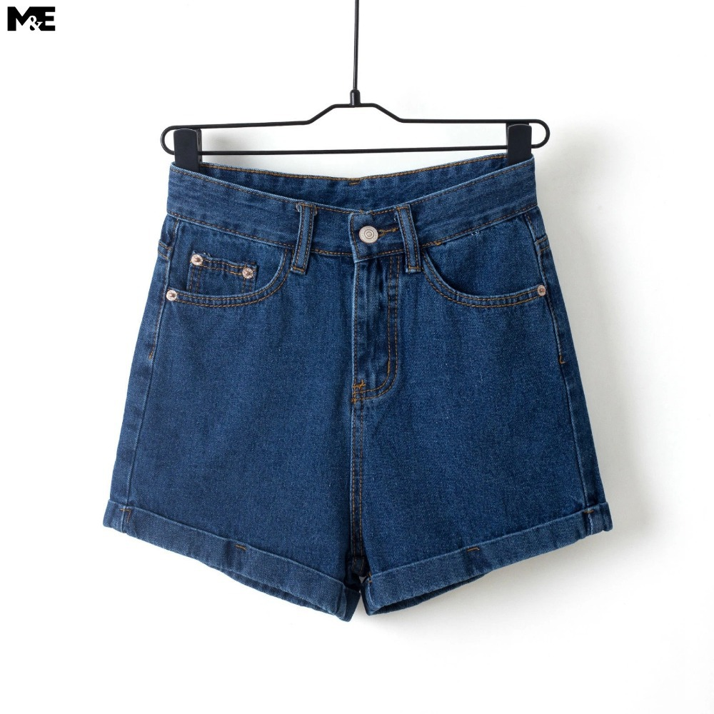 Blue high waisted denim shorts fashion summer style women clothing zipper fly denim shorts plus size  jeans shorts[4388XR]