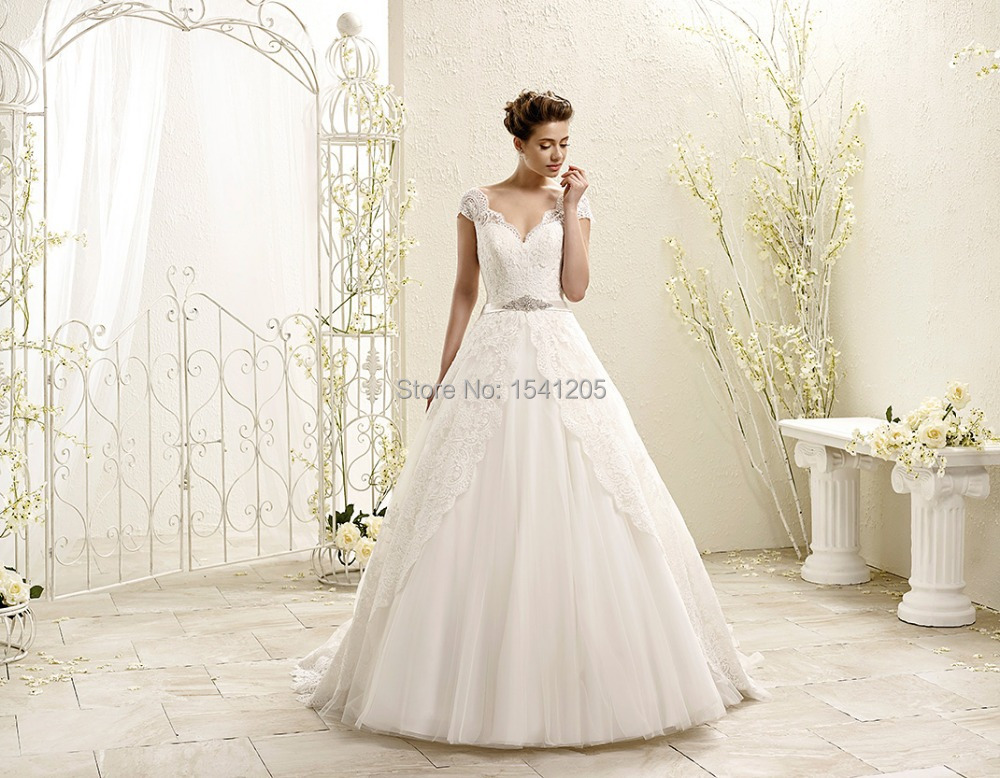 Gorgeous And Simple Wedding Dress With Cap Sleeves: Alibaba Wedding Dress 2015 Beautiful Off The Shoulder