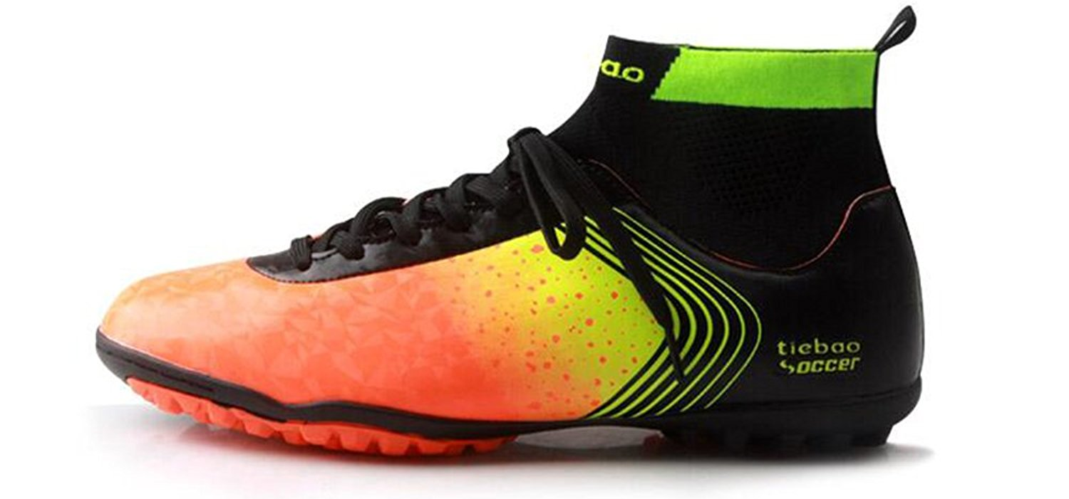 6d46345089a Get Quotations · Tiebao Professional Men s Soccer Football Shoes Sneakers  Outdoor TF Turf Ankle High Soccer Cleats Sneakers Adults