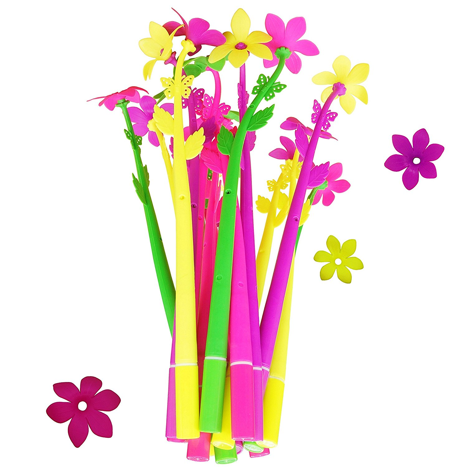 BUOP Zephyranthes Flower Style Ball-point Pen, Extra Fine Black Gel Ink Pen, Assorted Color Flower Pen, Creative Stationery Gift, Dozen (12pcs) Box