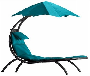 Outdoor Garden Beach Leisure Dreaming Hammock Hanging Lounge Chair with Canopy-Blue