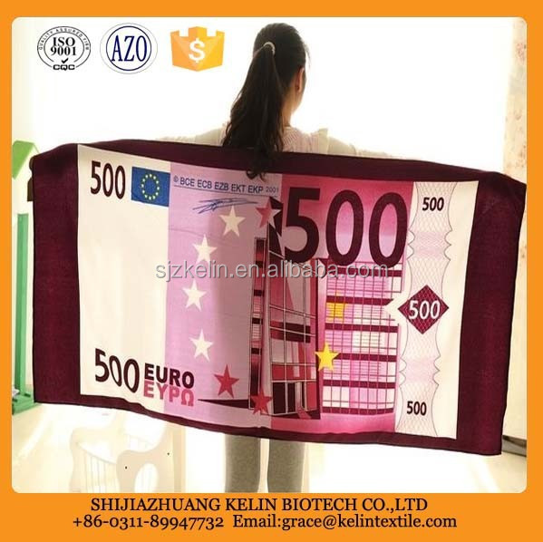 Eco-friendly microfiber 500 USD printed beach towel with best price