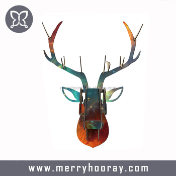 Deer Head Wall Hanging Home Decoration Of Wooden Crafts Animal Decor Carved Wood Art