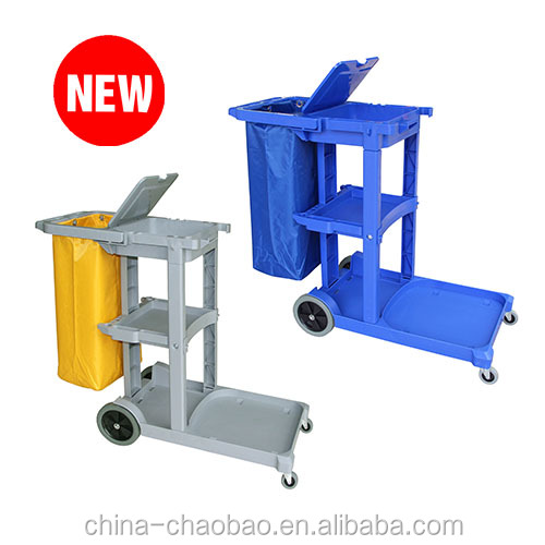 Multipurpose Hotel cleaning Janitorial Trolley /Janitor cart with cover