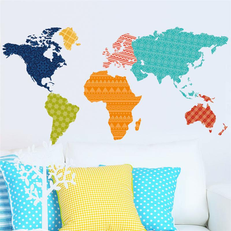 Colorful world map plates stickers office living room bedroom wall diy creative home decoration  pvc art mural tattoos