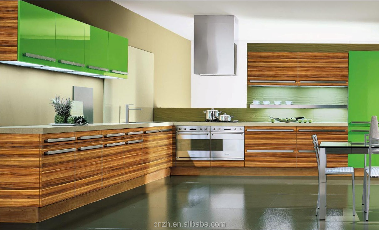 High end fiber woodgrain laminated kitchen cabinet with uv painting factory price directly