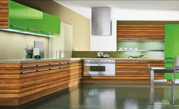 Di Fascia Alta Fibra Venatura Del Legno Laminato Armadio Cucina Con  Verniciatura Uv(Factory Prezzo