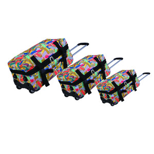 3 PCS sublimation duffel trolley sports travel bag,mix multi color patches patchwork hot stamp offset printing roll duffle bag