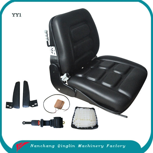 Jiangxi Qinglin wholesale / retail semi suspension forklift seat with slide, armrest,seat belt and safe switch (YY1)