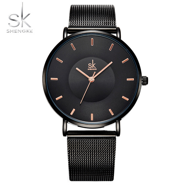 Shengke Fashion Black Women Watches 2017 High Quality Ultra thin Quartz Watch Woman Elegant Dress Ladies Watch Montre Femme SK фото