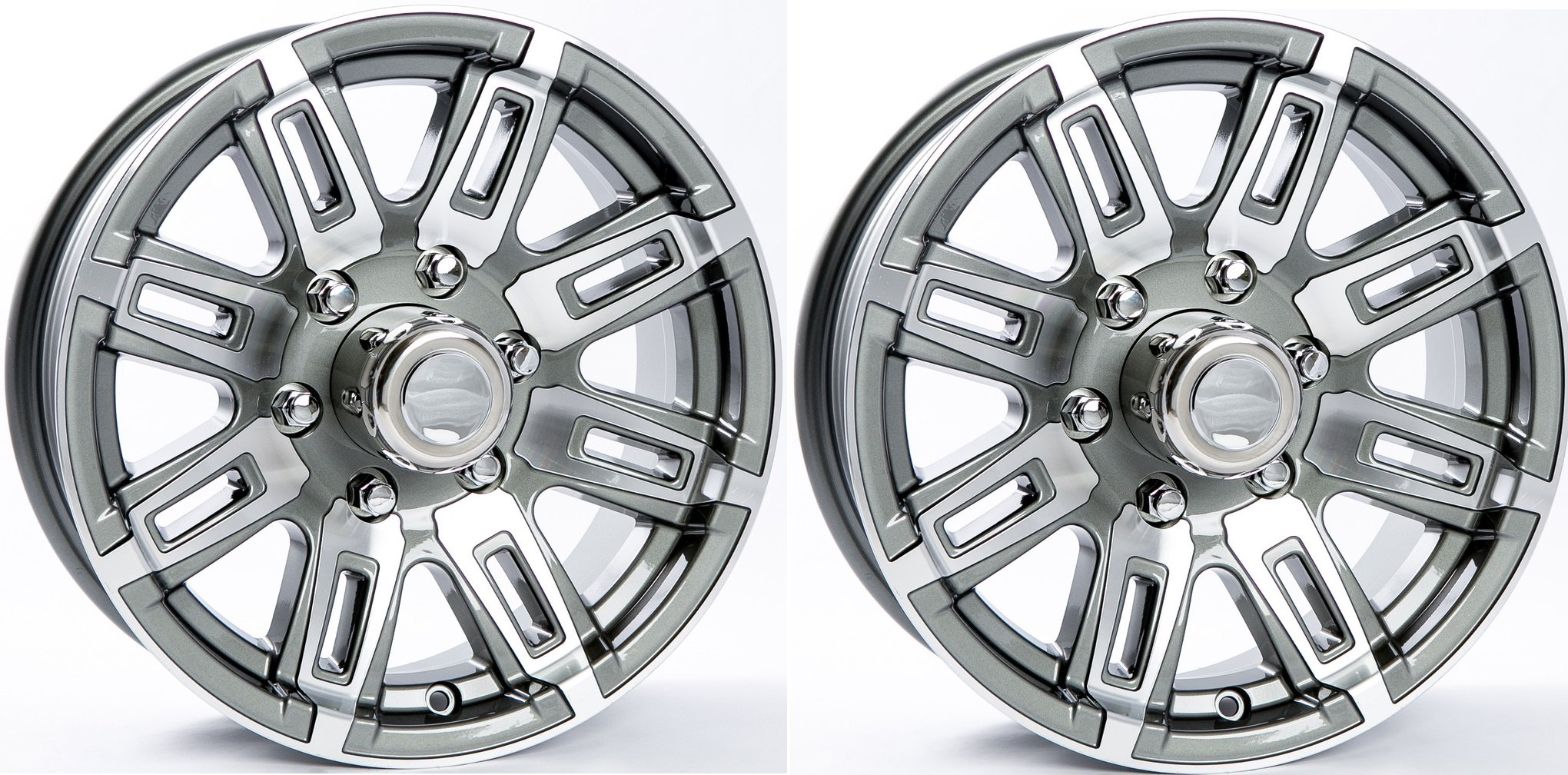 "eCustomRim 2-Pk Americana Trailer Wheel Grey Rim 16 x 6 Rec Spoke Style 6 Lug On 5.5"""