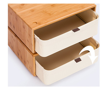 Bamboo Storage Boxes One Layer Cartoon Cube Basket Organizer Containers  Drawers