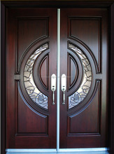 100% Mahogany Tiffany glass Wood Door Exterior Front Entry Double House double entry solid wood door