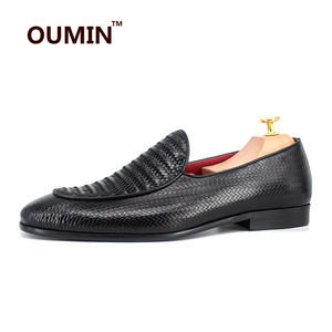 Men wholesale black leather woven loafers ,cow leather formal men dress shoes