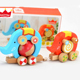 2017 wholesale christmas gift high quality kids wooden animal pull too cute children's zoo animals pull toy