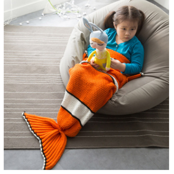 3471new crochet cute clownfish mermaid tail blanket knitted girls kids sleeping bag for gifts