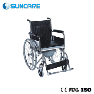 High back Reclining Steel foldable recliner Commode Wheelchair for older people