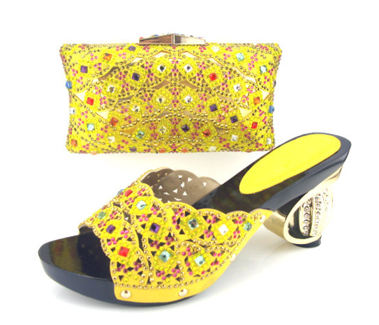Md015 362 Yellow Fashion Design Italian Women Pumps With Matching Hand Bag Best Price African Shoes And Bags Rhinestones