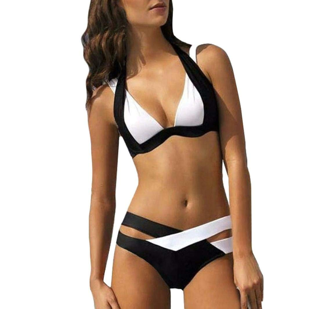 Womens Swimsuits,Bokeley Womens Sexy Two Piece Bandage Criss Cross Bikini Set Push-up Padded Bra Bathing Suit Women Patchwork Swimwear (Black, S)